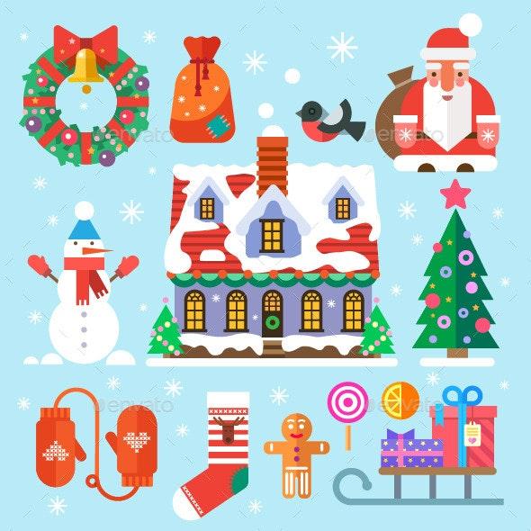 Flat Symbols of New Year and Christmas - Seasons/Holidays Conceptual