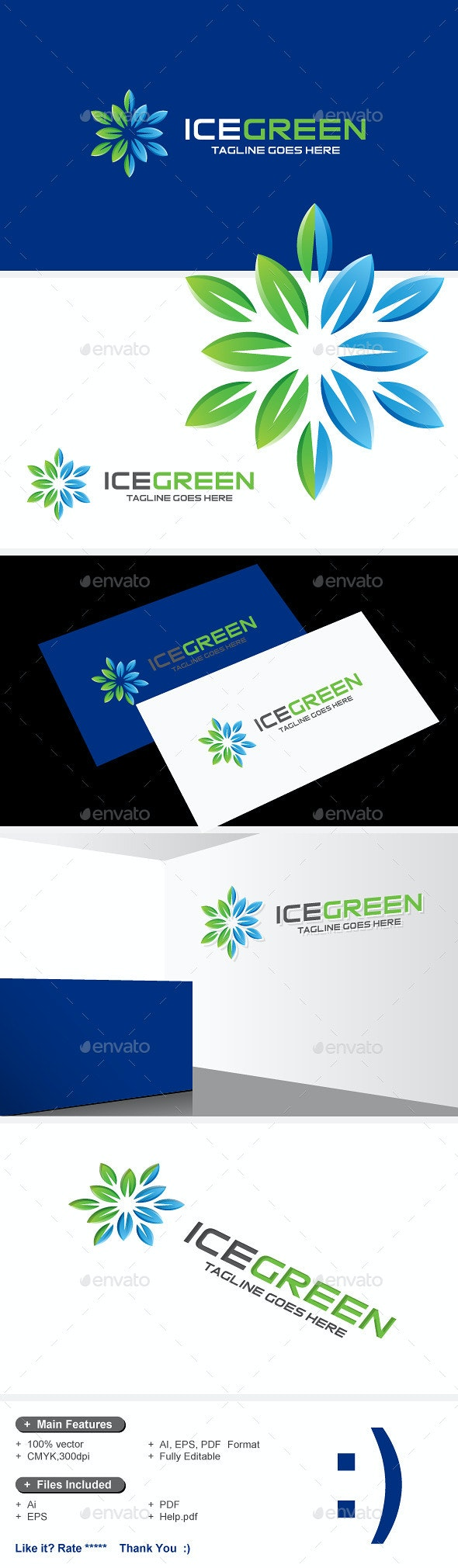 Ice Green & Snow Leaves Logo