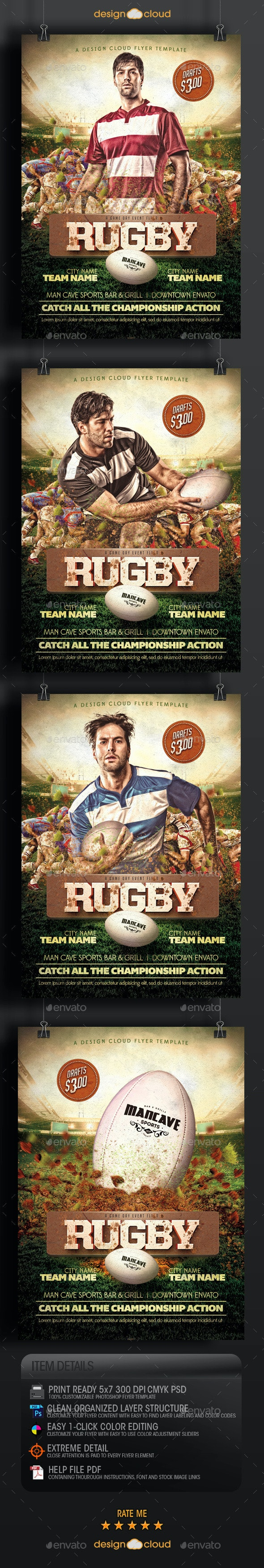 Rugby Game Day Flyer Template - Sports Events