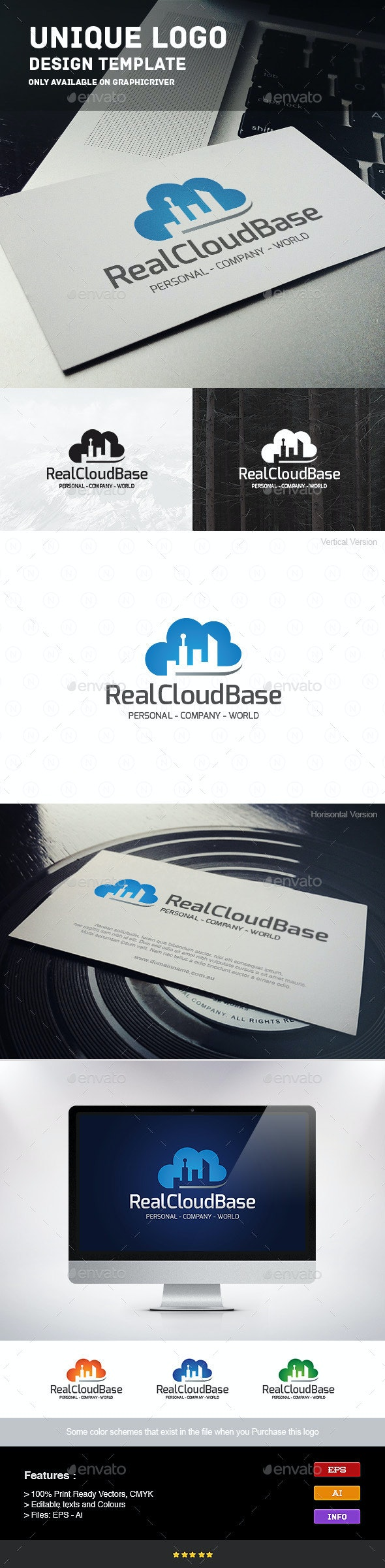 Real Estate Cloud Base - Buildings Logo Templates