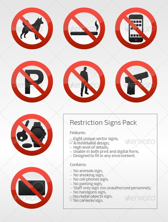 Restriction Signs Pack - Miscellaneous Vectors