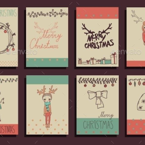 Vector Set Christmas Calligraphic Design Elements