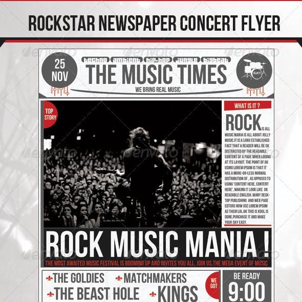 Rock Newspaper Concert Flyer