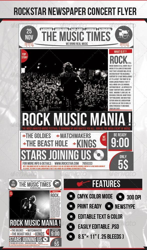 Rock Newspaper Concert Flyer - Clubs & Parties Events