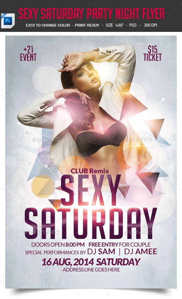 Sexy Saturday Party Night Flyer - Clubs & Parties Events