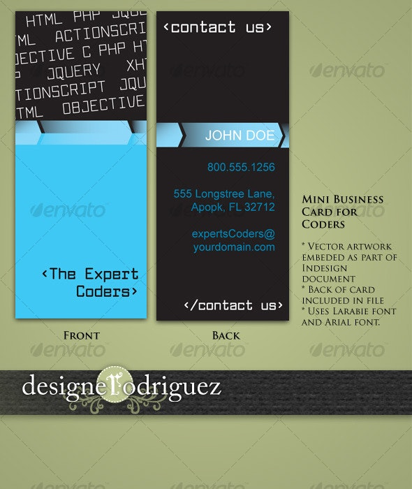 Mini Business Cards for Coders and Web Developers - Creative Business Cards