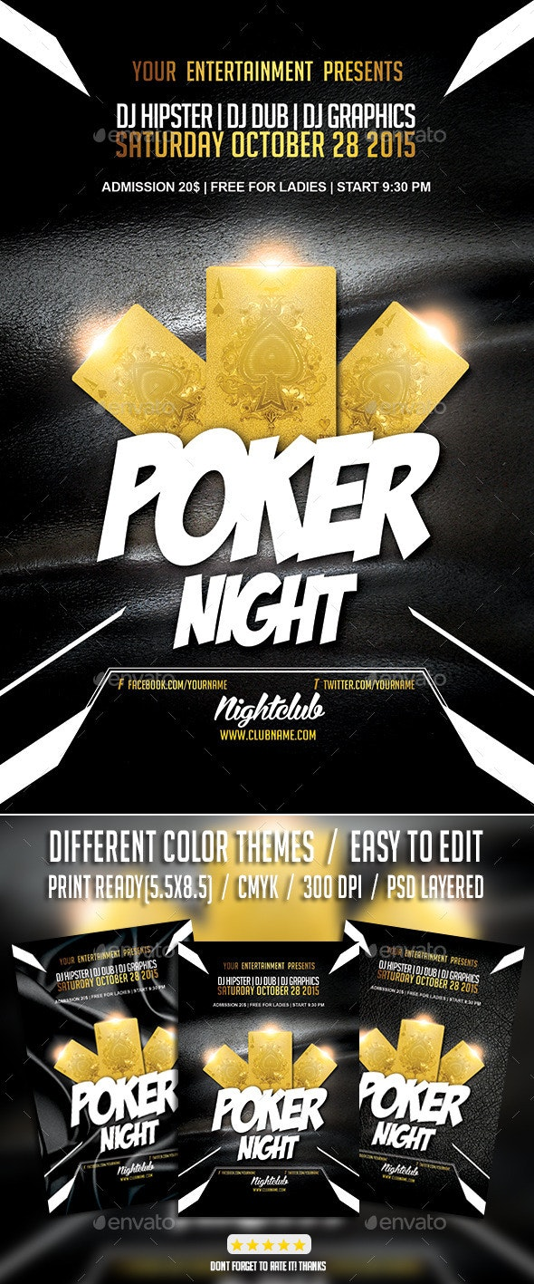 Poker Night Tournament PSD Flyer Template - Events Flyers