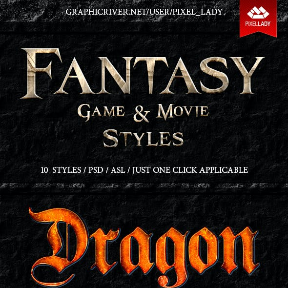 Fantasy Game and Movie Text Styles