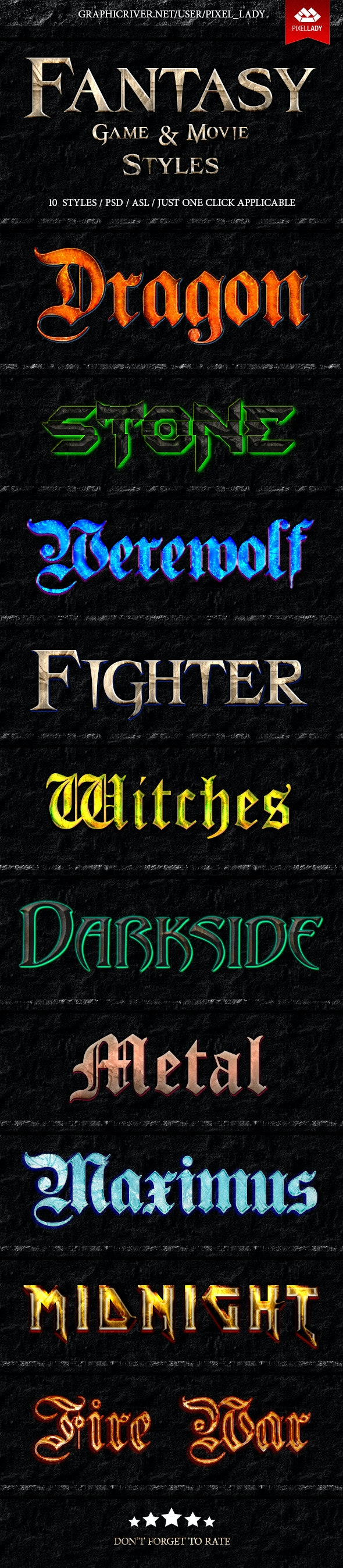 Fantasy Game and Movie Text Styles - Styles Photoshop