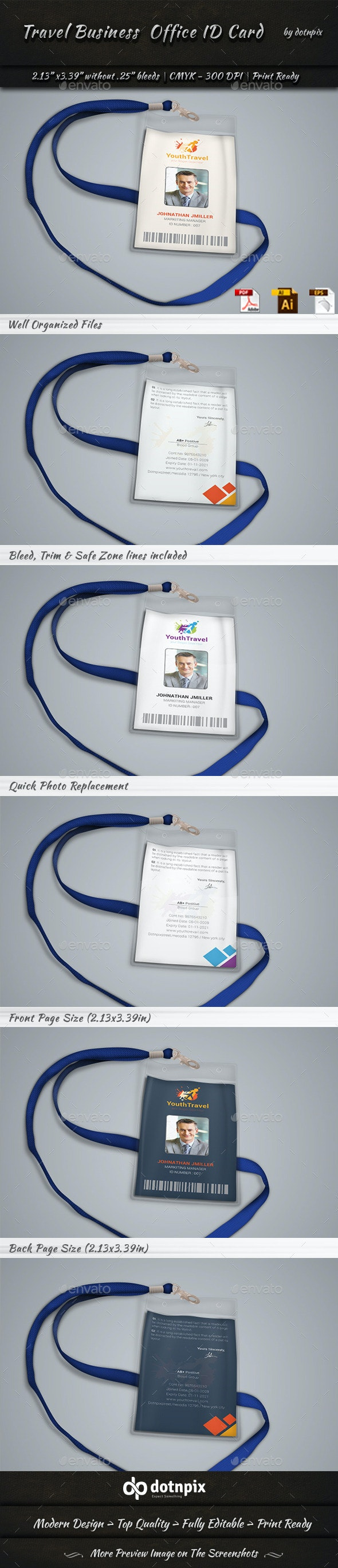 Travel Business  Office ID Card - Miscellaneous Print Templates