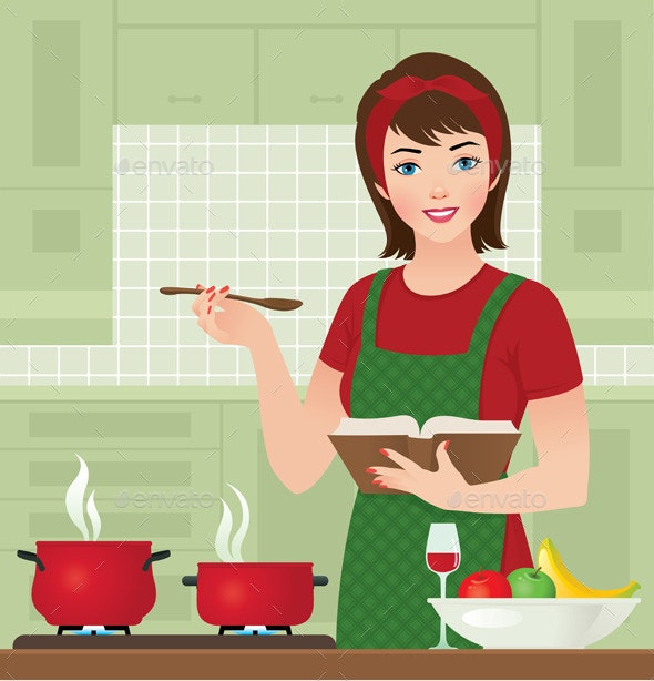 Housewife in the Kitchen - People Characters