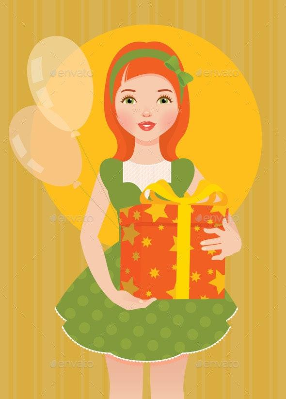 Girl with a Gift for his Birthday - Birthdays Seasons/Holidays