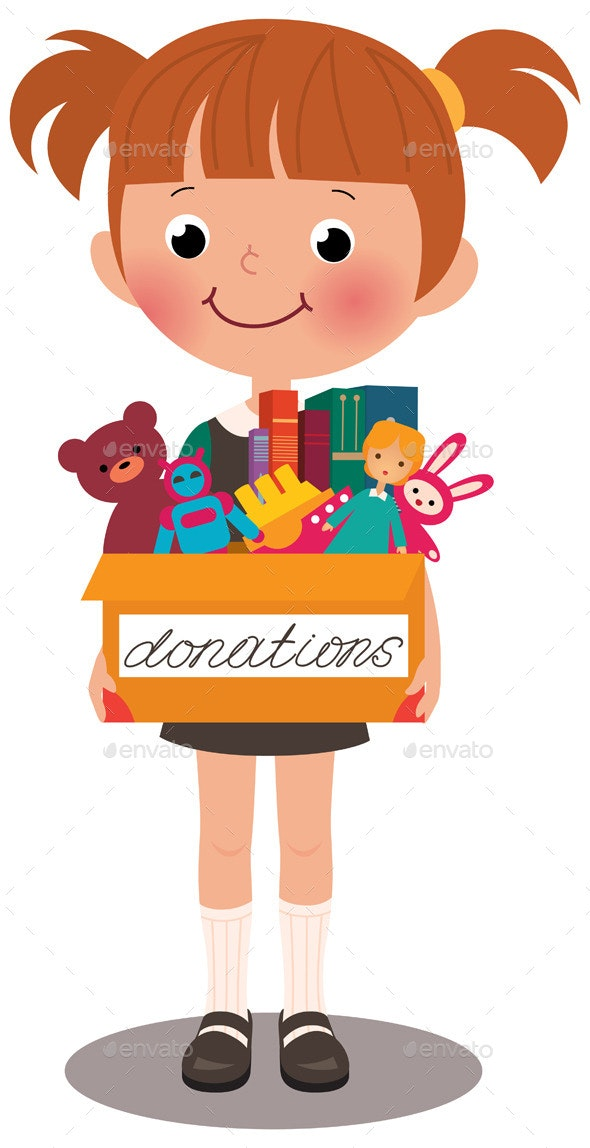 Girl holding a Box of Donations - People Characters