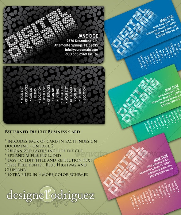 Patterned Die Cut Business Card - Creative Business Cards