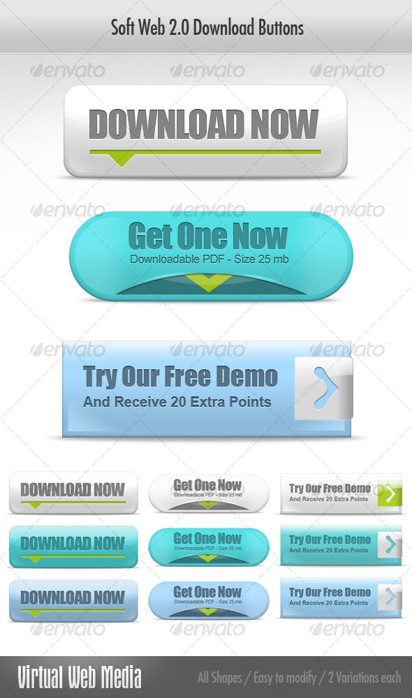 Soft Web 2.0 Download Buttons - Buttons Web Elements
