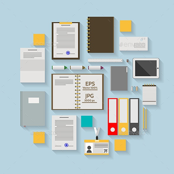 Flat Vector Icons for Business Workflow - Business Conceptual