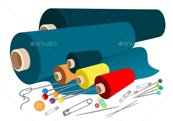 Vector Fabric Sewing Accessories - Objects Vectors