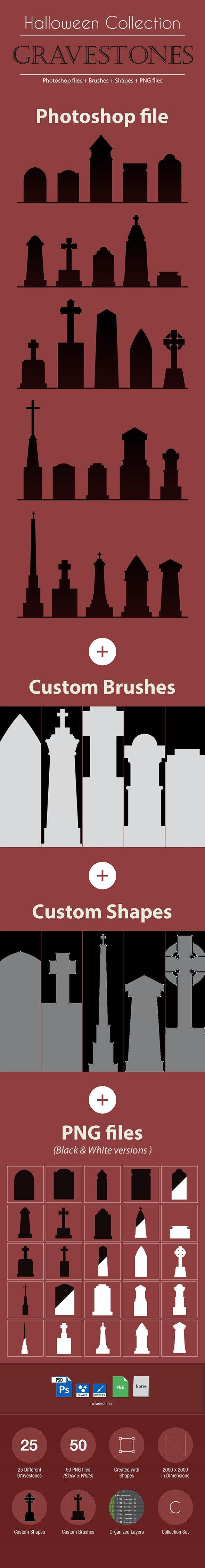 Halloween Collection - Gravestones - Photoshop Add-ons