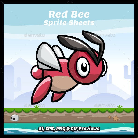 Red Bee Game Character Sprite Sheets