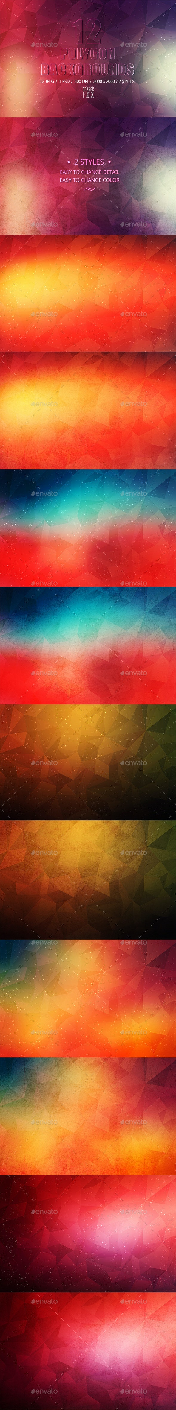 12 Polygon Backgrounds - 2 Styles - Abstract Backgrounds