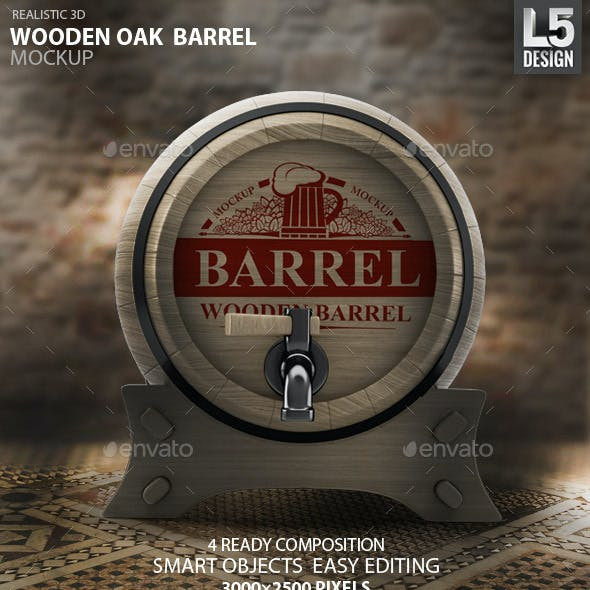 Wooden Oak Barrel Mock-up