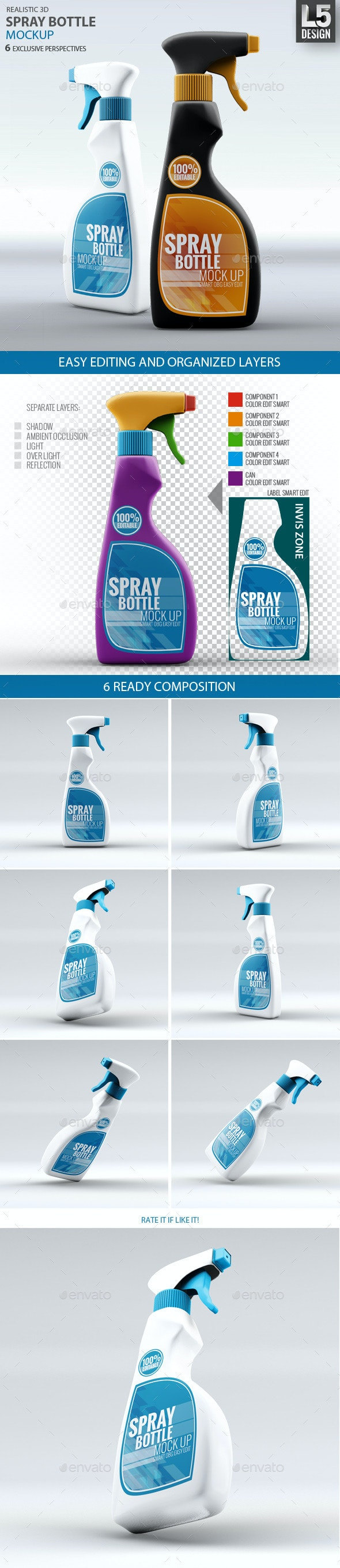 Spray Bottle Mock-Up - Packaging Product Mock-Ups