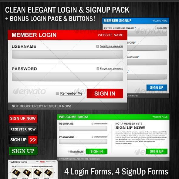 Clean Elegant Login&Signup Pack +BONUS