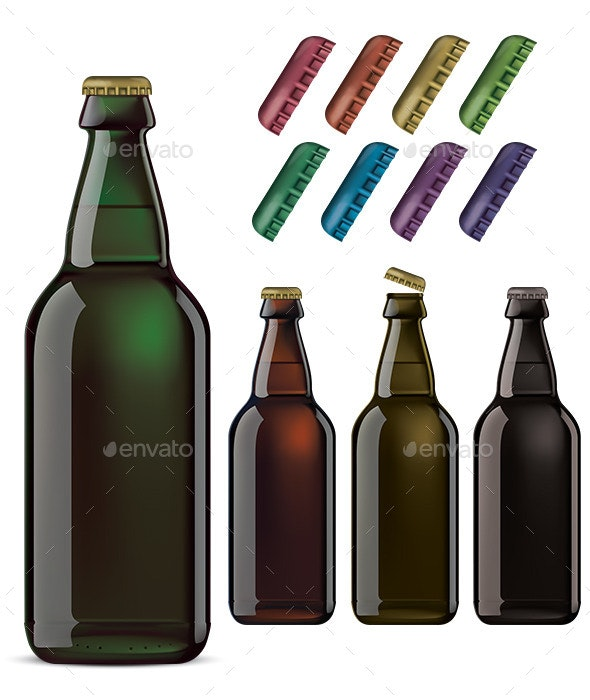 Beer Bottles and Colorful Cover Isolated - Food Objects
