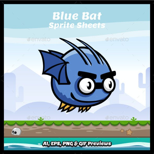 Blue Bat Game Character Sprite Sheets