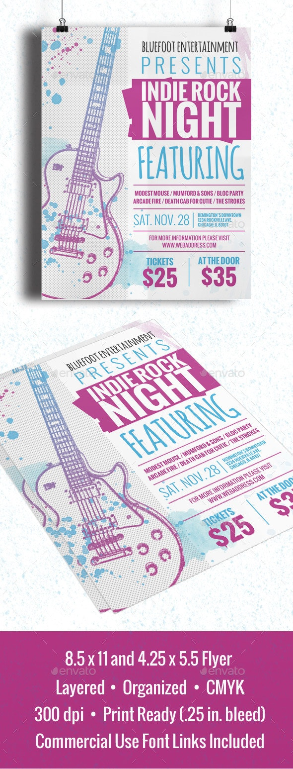 Indie Rock Night Flyer/Poster - Clubs & Parties Events