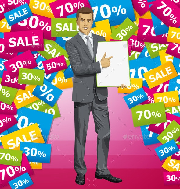 Vector Businessman With Empty Write Board - Commercial / Shopping Conceptual