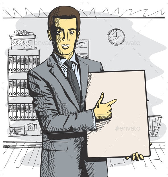 Businessman with Empty Write Board - People Characters