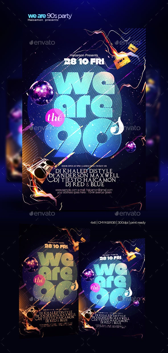 We Are The 90 Flyer - Clubs & Parties Events
