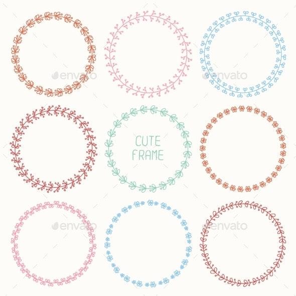 Set of Hand Drawn Style Badges and Design - Decorative Symbols Decorative