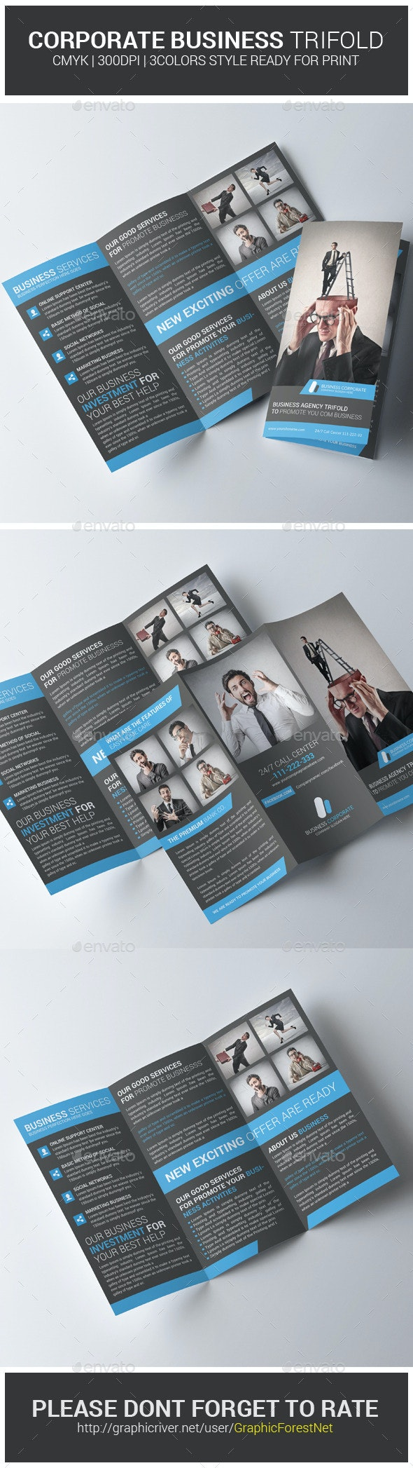 Corporate Business Trifold Brochure PSD Template - Corporate Brochures