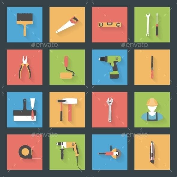 Building Flat Icons Set - Miscellaneous Conceptual