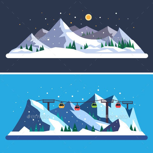 Ski Resort. Vector Flat Illustrations