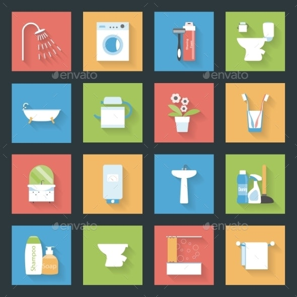 Bathroom Flat Icons Set - Web Elements Vectors