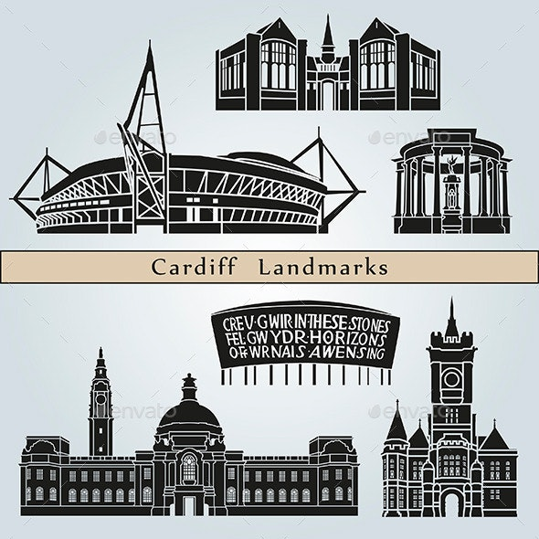 Cardiff Landmarks and Monuments - Buildings Objects