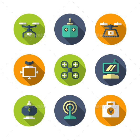 Set Flat Icons of Quadrocopter, Multicopter, Drone