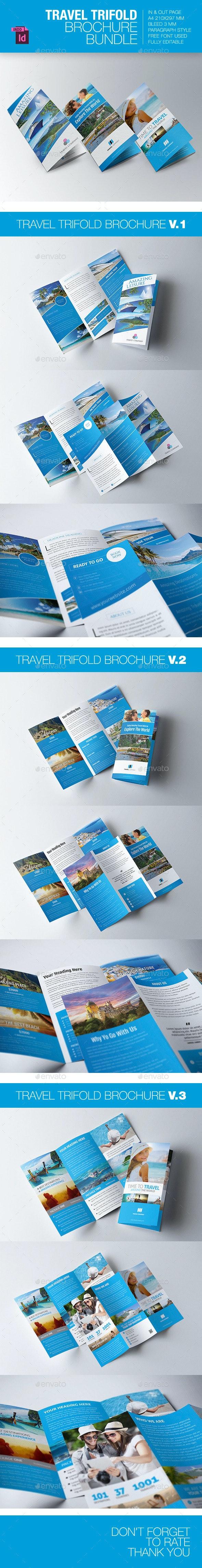 Travel Trifold Brochure Bundle - Brochures Print Templates