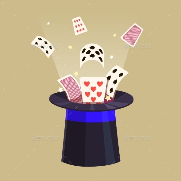Magic Trick Retro Cards and a Hat - Objects Vectors