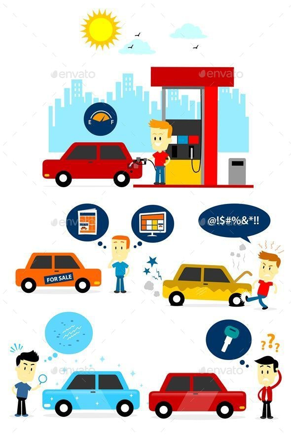Man and Car Clipart - People Characters