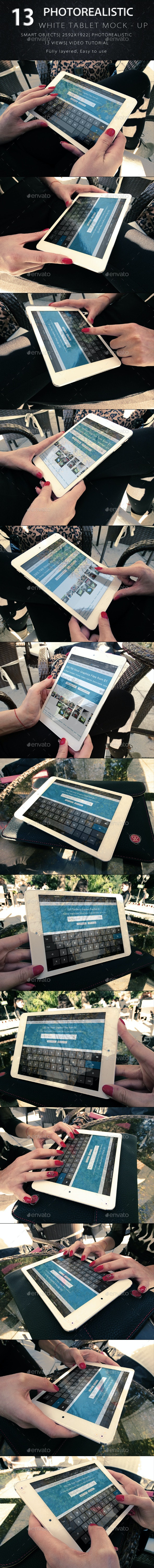 Photorealistic Tablet With Female Hands Mock-Up V2 - Product Mock-Ups Graphics