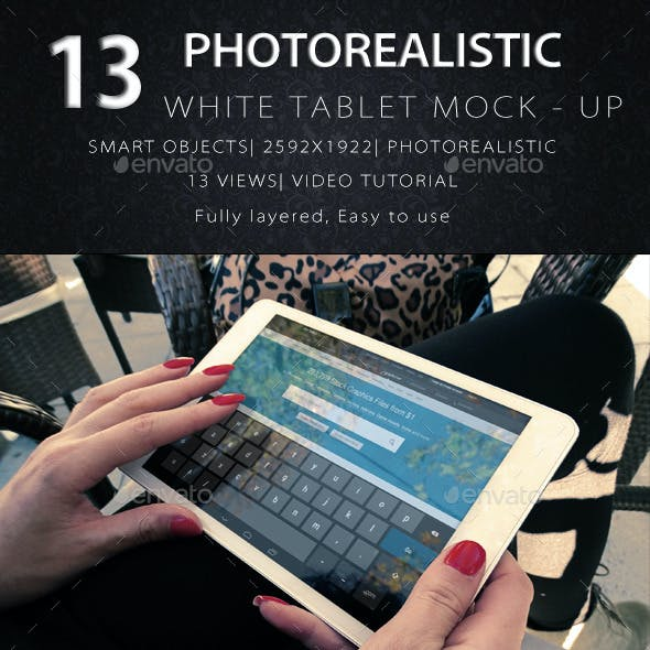 Photorealistic Tablet With Female Hands Mock-Up V2