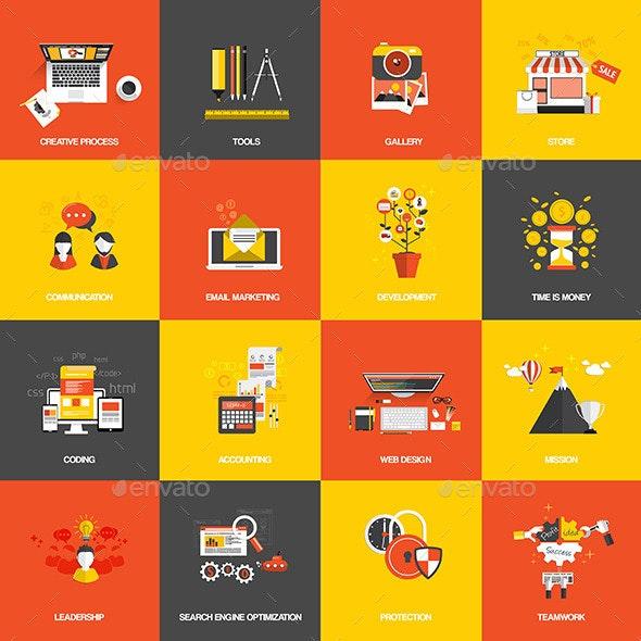 Set of Flat Design Concept Icons - Technology Conceptual
