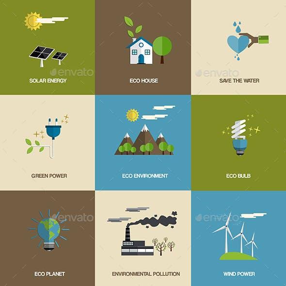 Set of Flat Designed Ecology Icons