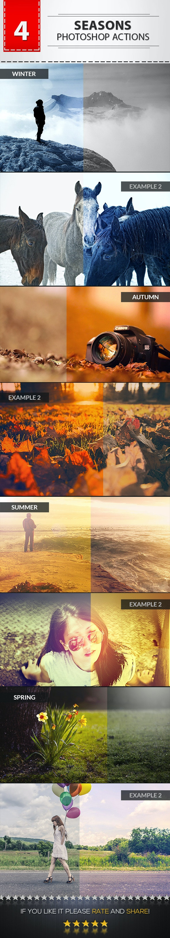 4 Seasons Photoshop Actions - Photo Effects Actions