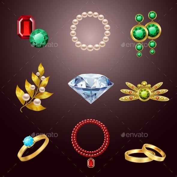 Jewelry Realistic Icons - Decorative Symbols Decorative
