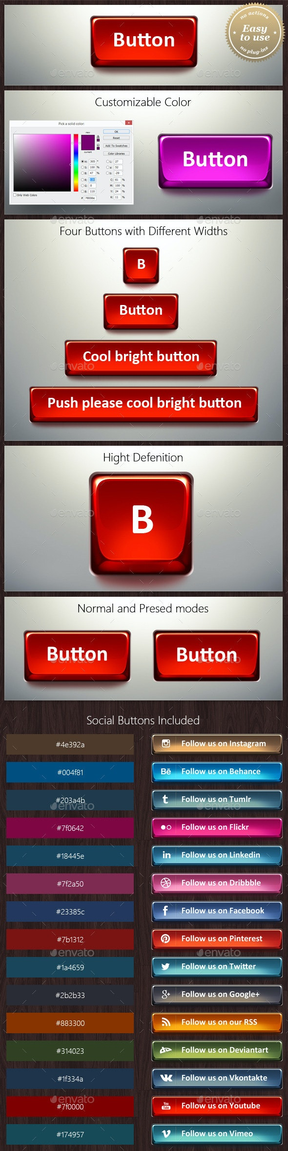Social Button with Customizable Color - Buttons Web Elements